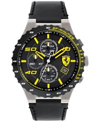 Ferrari Men's Chronograph Speciale Evo Chrono Black Leather Strap Watch 45Mm 0830360 Black And Yellow