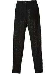 Gianni Versace Vintage Lace Trousers Black