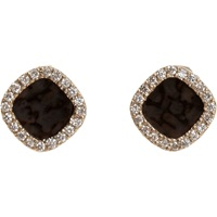 Diamond And Black Agate Stud Earrings