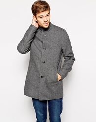 Selected Wool Coat With Funnel Neck Nightskymelangeg