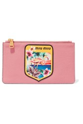 Miu Miu Appliqued Printed Textured Leather Pouch Pink