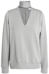Bailey 44 Eye Splice Cutout Stretch Modal Fleece Top Light Gray