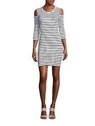 French Connection Tim Tim Cold Shoulder Dress Black White Combo