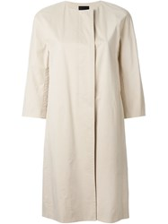 Theory Single Breasted Coat Nude And Neutrals