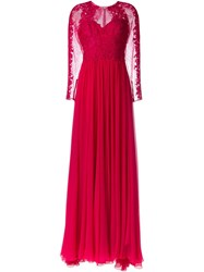 Zuhair Murad Lace Panel Gown Dress Pink And Purple