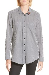 The Kooples Women's Brooch Embellished Check Shirt