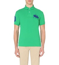 Ralph Lauren Dual Logo Embroidered Cotton Pique Polo Shirt Preppy Green
