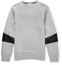 Tim Coppens Leather Panelled Cotton Blend Jersey Sweatshirt Gray