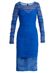 Versace Ruched Tulle Dress Blue