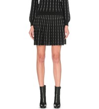Claudie Pierlot Sonic Striped Knitted Skirt Noir