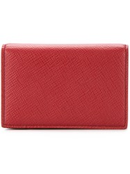 Smythson Snap Button Wallet Unisex Calf Leather Red