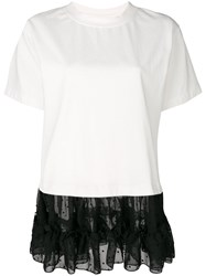 Maison Martin Margiela Mm6 Tulle Hem T Shirt Cotton Polyester S White