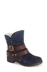 Women's Naturalizer 'Talley' Engineer Boot Navy Suede Brown Leather