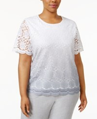 Alfred Dunner Plus Size Rose Hill Collection Lace Short Sleeve Sweater Silver