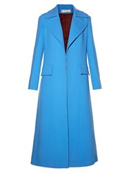 Marni Single Breasted Long Crepe Coat Blue