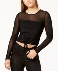Material Girl Juniors' Long Sleeve Mesh Corset Top Created For Macy's Caviar