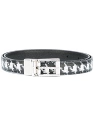 Dolce And Gabbana Houndstooth Print Belt Black
