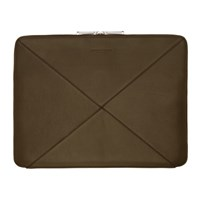 Bottega Veneta Khaki Max Weave Document Portfolio
