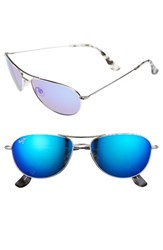 Maui Jim Women's 'Baby Beach Polarizedplus2' 56Mm Sunglasses Silver Blue Hawaii Silver Blue Hawaii