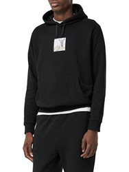 Burberry Oversize Printed Cotton Jersey Hoodie Black