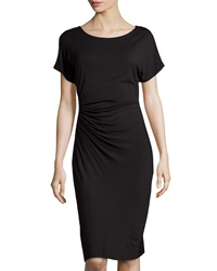 Neiman Marcus Ruched Dolman Sleeve Dress Black