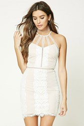 Forever 21 Lace Overlay Mini Dress Ivory Nude
