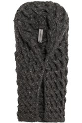 Rick Owens Oversized Open Knit Cashmere Cardigan Dark Gray