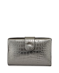 Class Roberto Cavalli Sofia Crocodile Embossed Metallic Leather Clutch Bag Gunmetal
