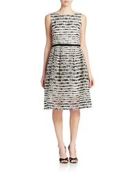 Taylor Floral And Sheer Stripe Fit And Flare Dress Black Cream