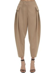 Stella Mccartney Tailored Stretch Wool Cargo Pants Beige