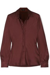Joseph George Silk Satin Shirt Brown