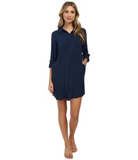 Candc California Solid Rayon Shirtdress Navy Women's Dress