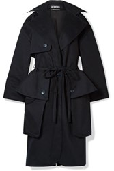 Jacquemus Le Manteau Bagli Belted Herringbone Cotton Trench Coat Midnight Blue