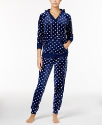 By Jennifer Moore Hooded Velour Pajama Set Only At Macy's Navy Dots