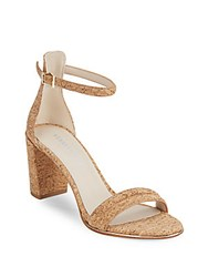 Kenneth Cole Lex Open Toe Block Heel Sandals Natural