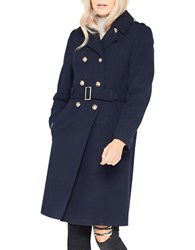 Miss Selfridge Double Breasted Military Coat Navy Blue
