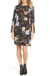 Tahari Floral Sheath Dress Black Peach Sky