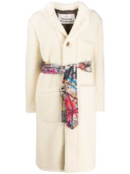 Vivienne Westwood Anglomania Single Breasted Shearling Coat White