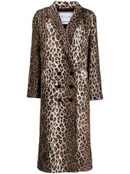Redemption Double Breasted Leopard Print Coat Neutrals