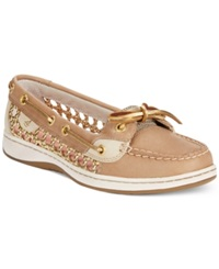 Sperry Women's Angelfish Cane Woven Boat Shoes Women's Shoes Linen Gold
