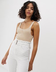 Native Youth Knitted Cami Top In Rib Cream