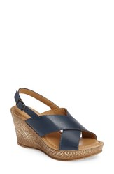 Bella Vita Women's Lea Wedge Sandal Navy Leather