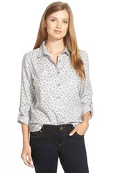 Petite Women's Caslon Long Sleeve Cotton Shirt Grey Print