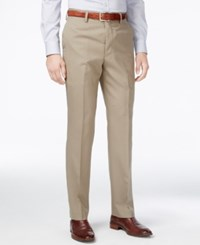 Louis Raphael Men's Slim Fit Wool Dress Pants Khaki