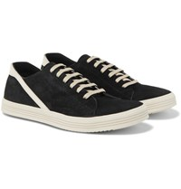 Rick Owens Geothrasher Leather Trimmed Suede Sneakers Black