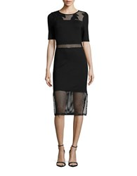French Connection Embroidered Mesh Accented Dress Black