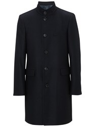 John Lewis Italian Funnel Neck Overcoat Navy