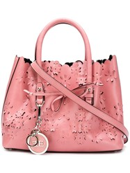 Ermanno Scervino Floral Cut Tote Pink And Purple