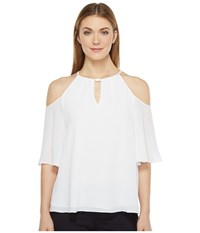 Ellen Tracy Cold Shoulder Halter White Women's Clothing
