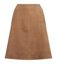 Set Suede A Line Skirt Female Brown